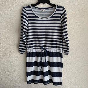 Caslon Striped Cotton Tie Waist Short Dress